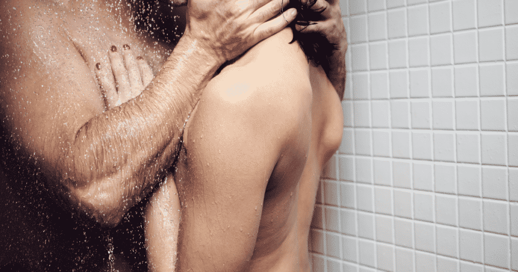 Couple kissing in the shower